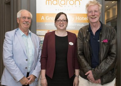Derek Burke (Write by the Sea), Irene Wyse (Sales Manager) and Author Geoff Hill at the Maldron Hotel Wexford for the Write by the Sea Festival. Pic: Nicola Reddy. maldronhotelwexford